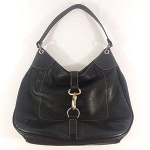 Fossil Black Leather Hobo Shoulder Bag Carabiner